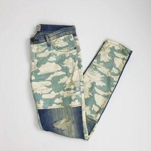 Current Elliott Cloud Print Distressed Jeans